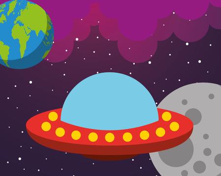 Raum Sonnensystem UFO Erde Mond Wolken Sterne Vektor-Illustration