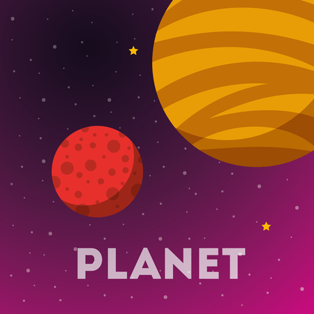 space solar system stars planets colors vector illustration