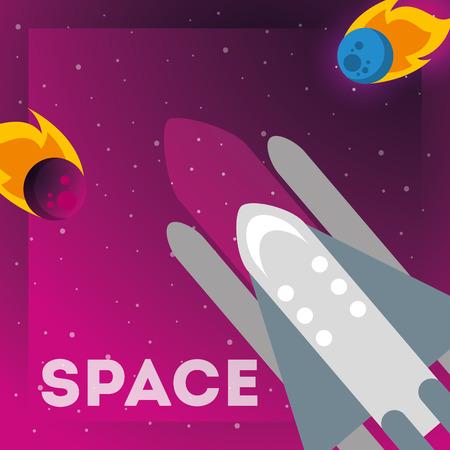 space solar system asteroid rocket sign vector illustration 向量圖像