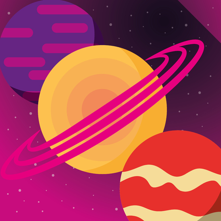 space solar system planets colors stars vector illustration