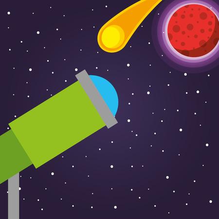 space solar system microscope meteorite stars vector illustration