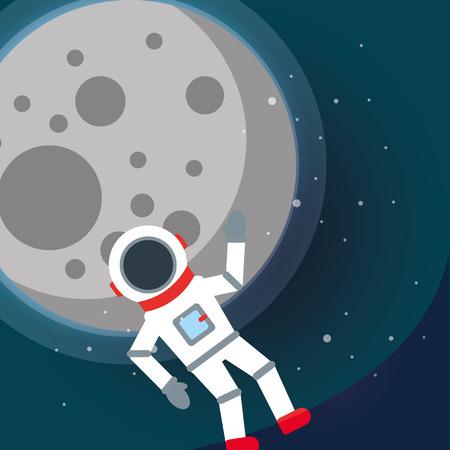 space solar system moon astronaut greeting stars vector illustration