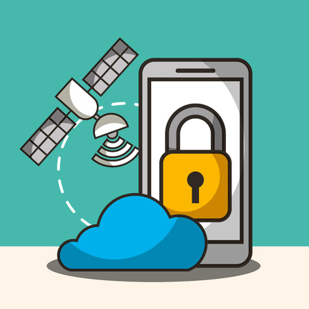 satelite signal cloud smartphone padlock security vector illustration Ilustracja