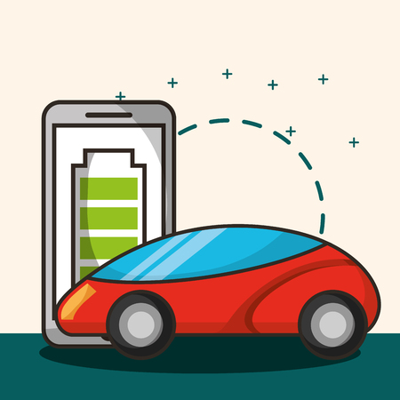 autonomous car smartphone battery saver vector illustration