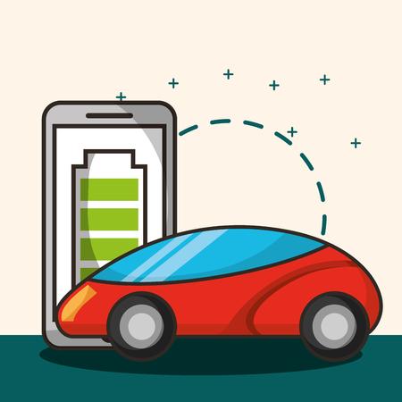 autonomous car smartphone battery saver vector illustration