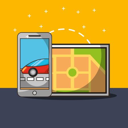 autonomous car smartphone screen street motorcar ubication vector illustration
