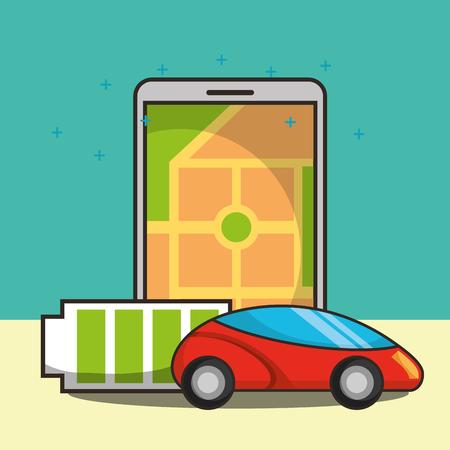 autonomous car smartphone screen ubication battery vector illustration Çizim