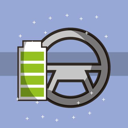 autonomous car steering wheel battery vector illustration Illustration