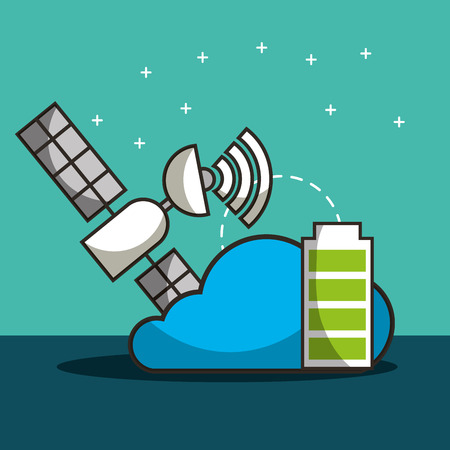 satelite signal cloud battery save vector illustration
