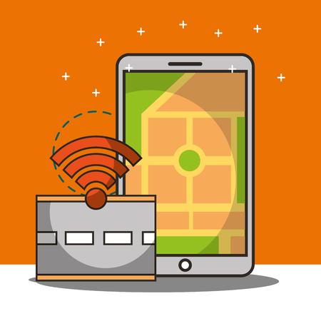 autonomous car smartphone screen ubication location street signal vector illustraiton