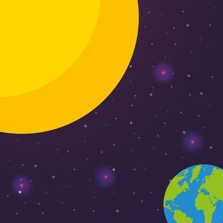space solar system earth sun flickering lights stars vector illustration