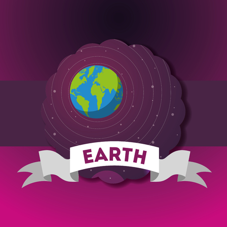 space sticker earth stars cosmic vector illustration Illustration