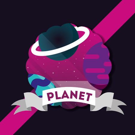 space solar system cosmic planets stars vector illustration