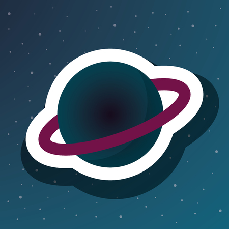 space saturn planet stars cosmic vector illustration