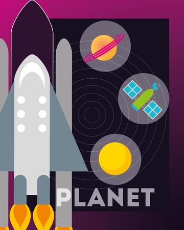 space rocket stickers saturn satelite sun vector illustration Illustration