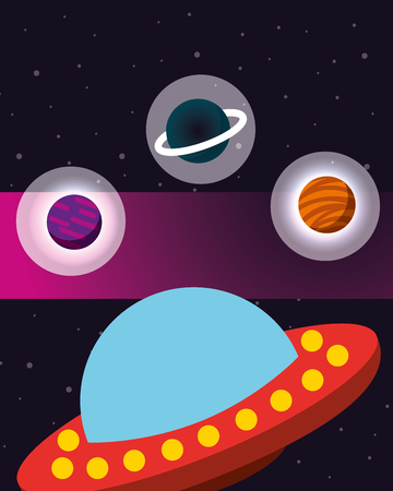 space solar system ufo stickers planets stars vector illustration Ilustrace