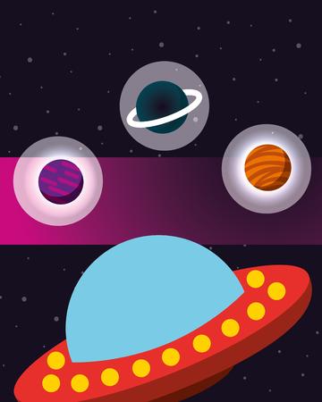 space solar system ufo stickers planets stars vector illustration Illustration