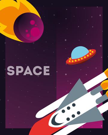 space solar system asteroid ufo rocket exploration vector illustration 版權商用圖片 - 109859606