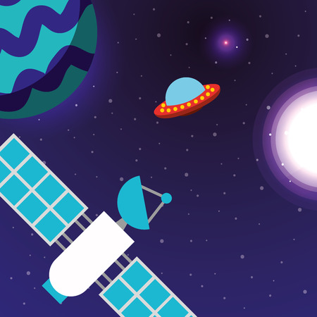 space solar system ufo explore satelite signal vector illustration
