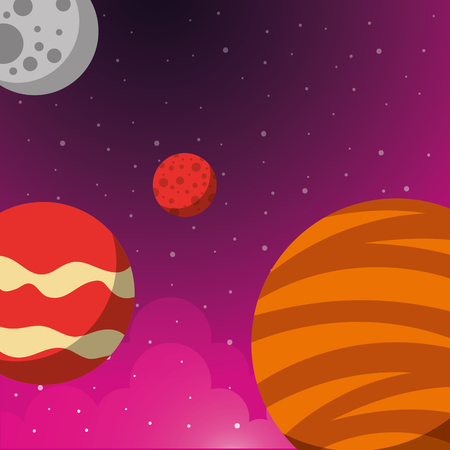 space solar system stars moon planets vector illustration