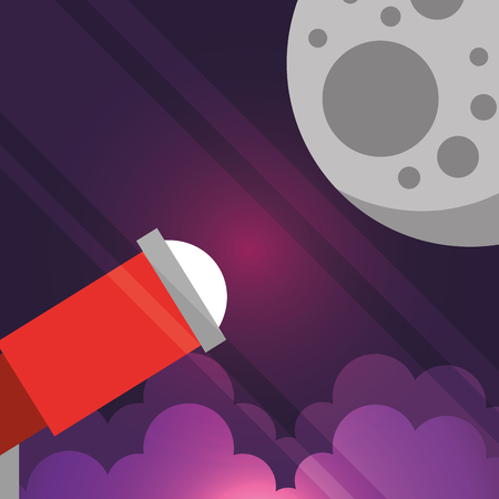 space lights microscope explore moon vector illustration