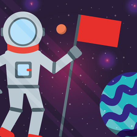 space solar system astronaut holding flag planets lights vector illustration