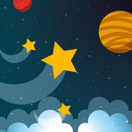 space planets shooting stars clouds vector illustration Ilustração