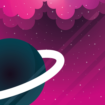 space saturn planet clouds stars pink background vector illustration