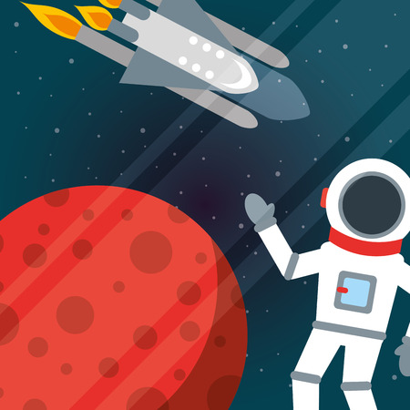 space solar system rocket astronaut greeting vector illustration Çizim