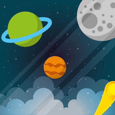 Raumplaneten Saturn Jupiter Mond Meteorit Wolken Sterne Vektor-Illustration Vektorgrafik