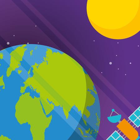space planets earth sun satelite signal vector illustration Illustration