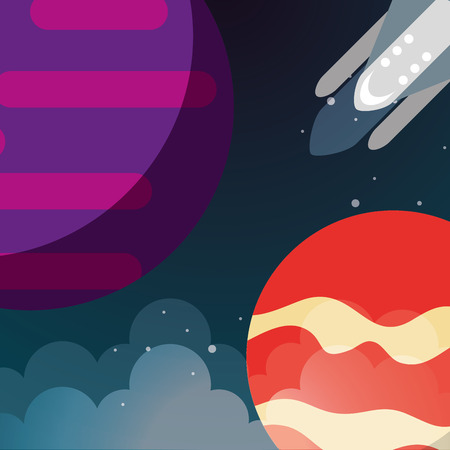 space planets rocket explore clouds vector illustration