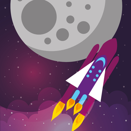 space rocket explore moon stars clouds vector illustration Ilustração