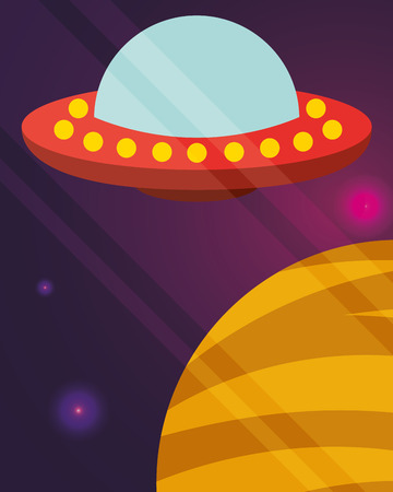 space ufo explore planet flickering lights vector illustration