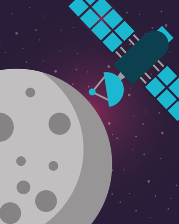 space moon satleite signal explore vector illustration