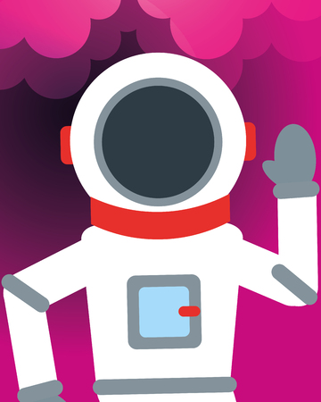 space astronaut greeting degrade background vector illustration