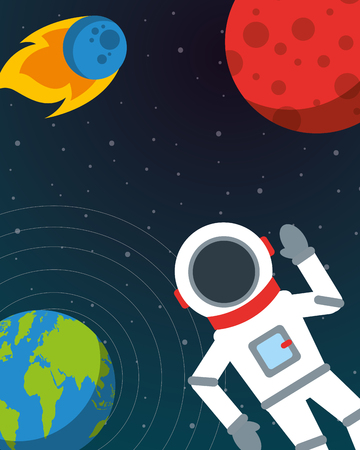 space solar system planets astronaut greeting meteorite vector illustration
