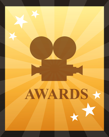 movie awards camera film stars degrade background vector illustration