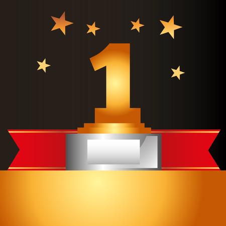 movie awards ribbon prize number one winner stars background vector illustration Reklamní fotografie - 108479757