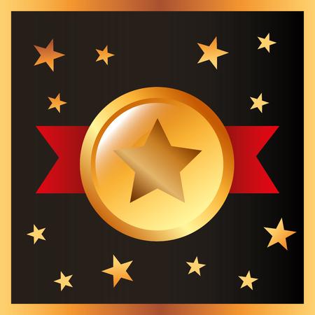 movie awards ribbon star recognition vector illustration 向量圖像