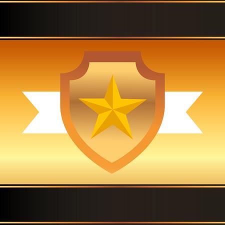 movie awards shield star ribbon vector illustration