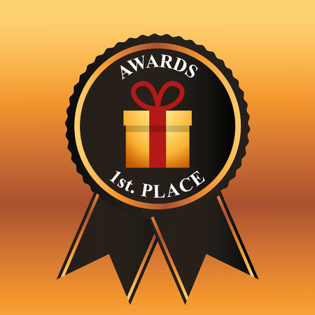 movie awards ribbon recognition badge gift box first place winner vector illustration 向量圖像