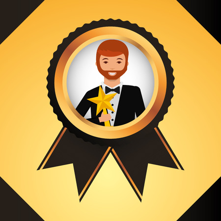 movie awards ribbon ensign winner man holding star prize vector illustration Illusztráció