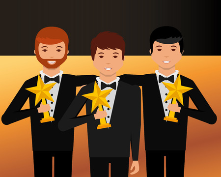 movie awards boys embraced smiling holding stars prizes vector illustration