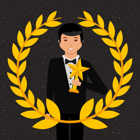 movie awards man holding prize star win vector illustration