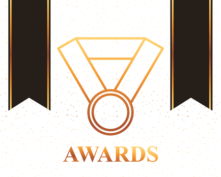 movie awards ribbons necklace recognition badge vector illustration