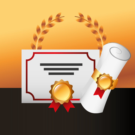 movie awards diplomas recognition badge win vector illustration
