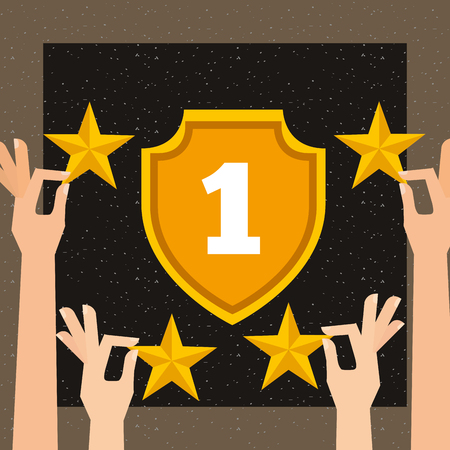 movie awards hands holding stars number one vector illustration
