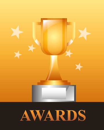 movie awards trophy winner stars background vector illustration Reklamní fotografie - 108480480