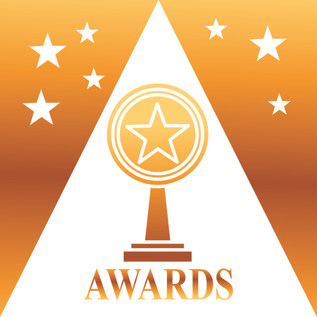 movie awards prize star winner degrade background vector illustration